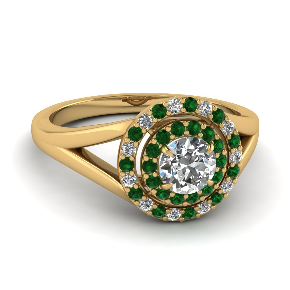 Explore Our Emerald Double Halo Engagement Rings| Fascinating Diamonds