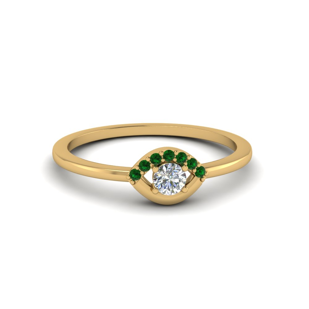 round cut diamond engagement ring with green emerald in 14K yellow gold FD8004RORGEMGR NL YG GS