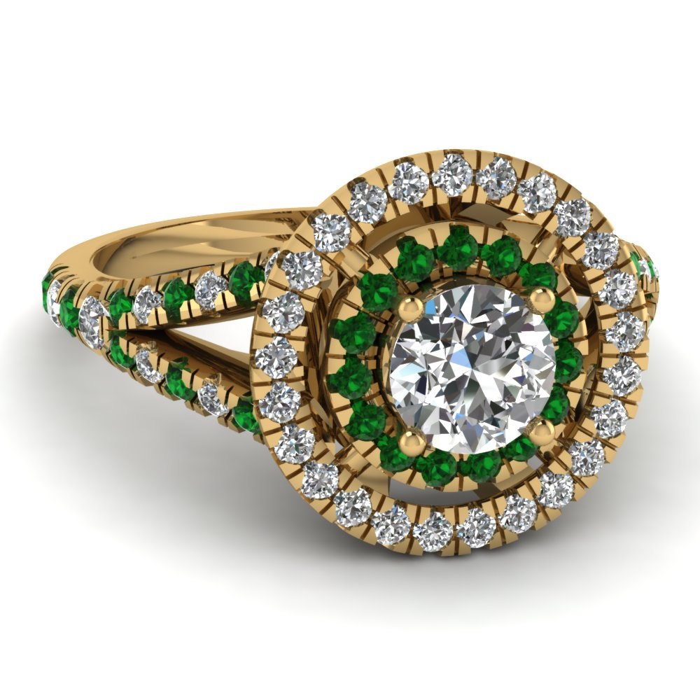 French Prong Emerald Double Halo Ring