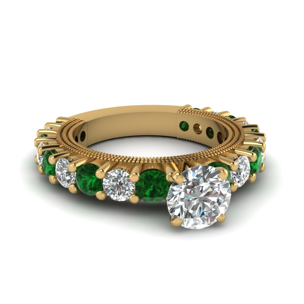 Round Cut Diamond Engagement Ring With Green Emerald In 18k Yellow Gold  Fdens1462rorgemgr Nl Yg