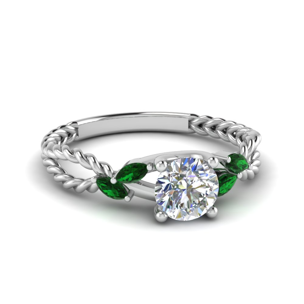 emerald braided round cut diamond engagement ring in FD1099RORGEMGR NL WG.jpg