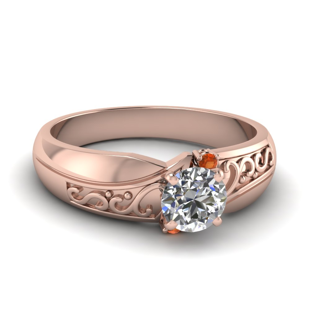 Unique 14k Rose Gold 3 Stone Engagement Rings