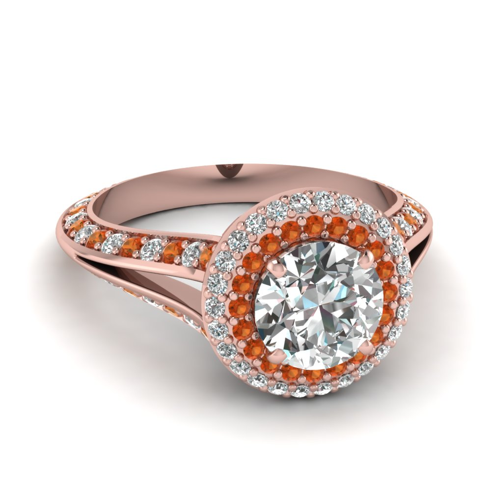 Micropave Split Orange Sapphire Double Halo Ring