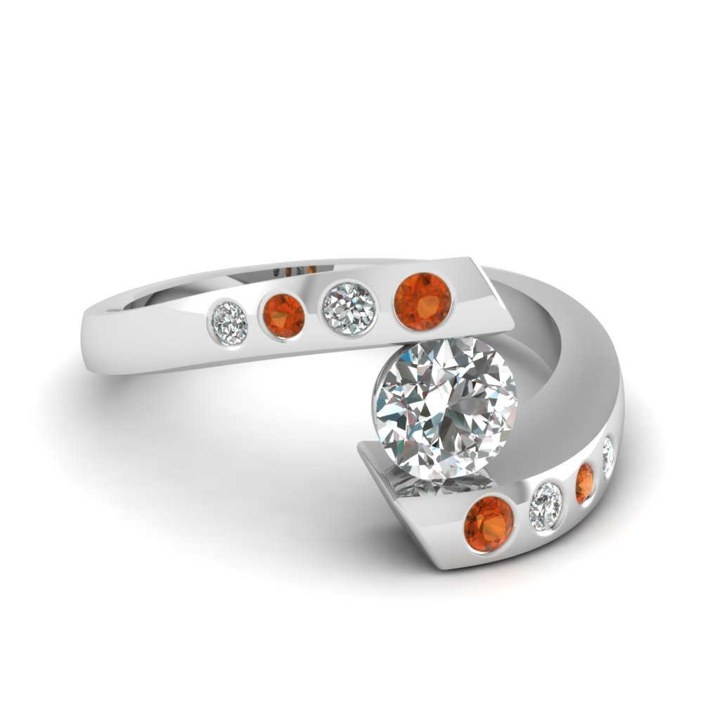 Orange Sapphire Wedding Rings