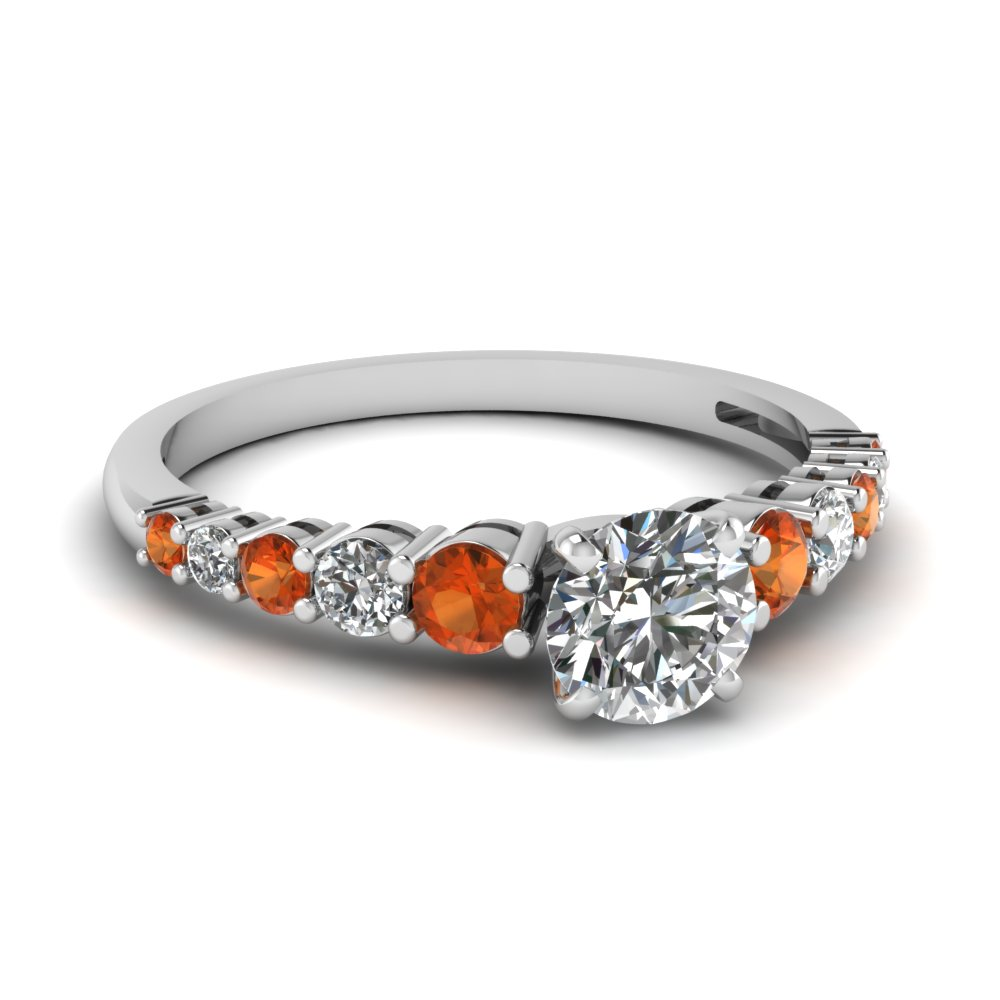 graduated round diamond engagement ring with orange sapphire in FDENS3056RORGSAOR NL WG