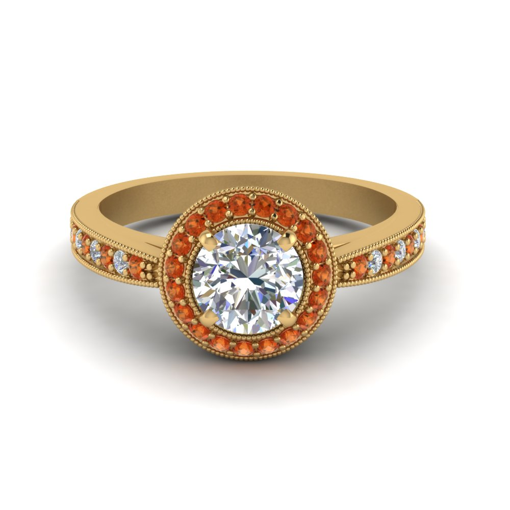 antique halo diamond wedding ring with orange sapphire in FDENS3159RORGSAOR NL YG