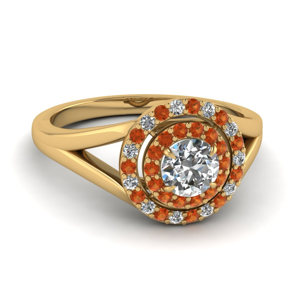 Round Diamond Orange Sapphire Double Halo Ring