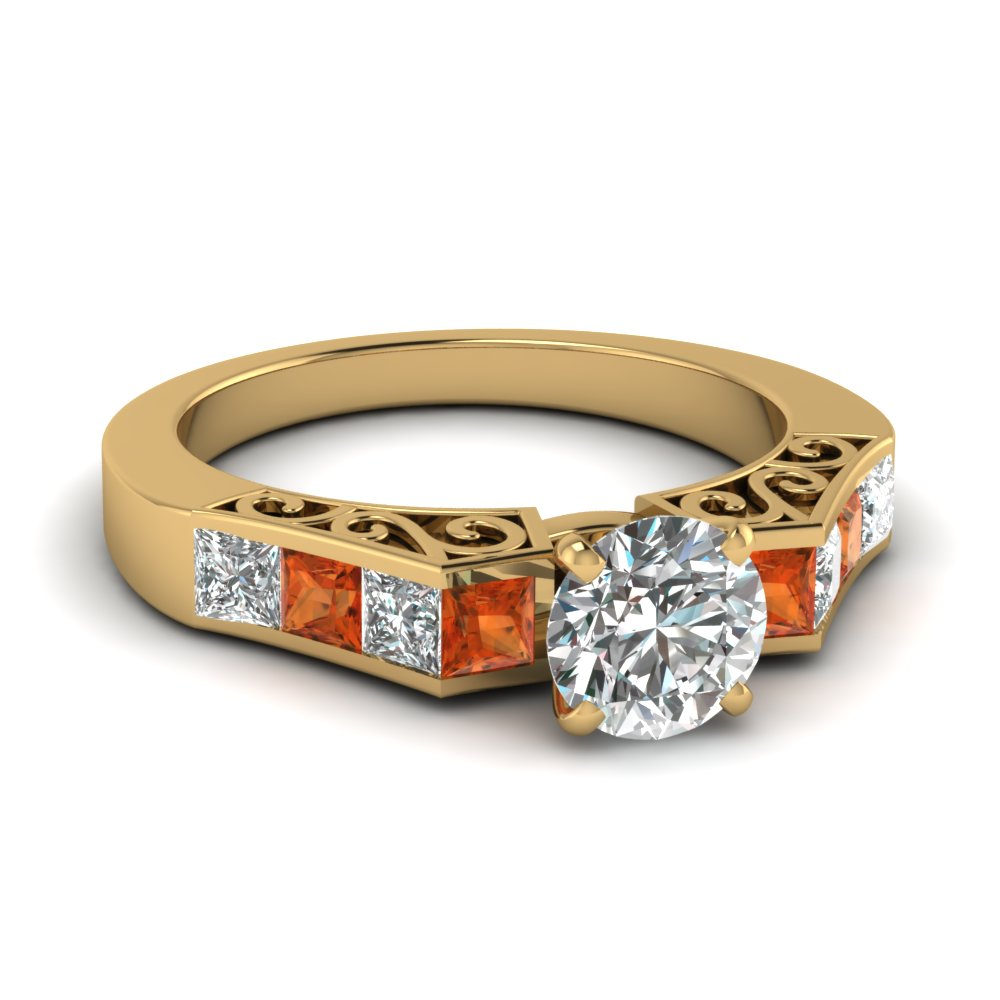 channel diamond round cut vintage engagement ring with orange sapphire in FDENS151RORGSAOR NL YG