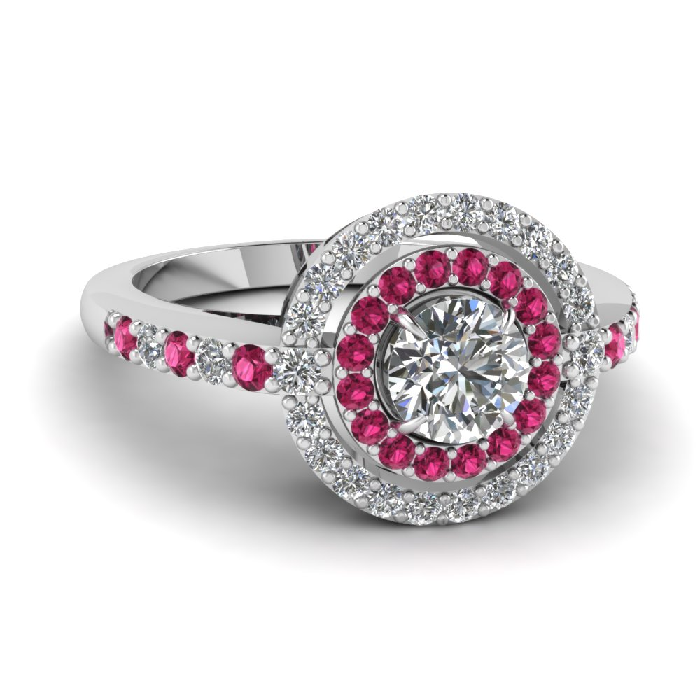 cut engagement ring with pink sapphire in