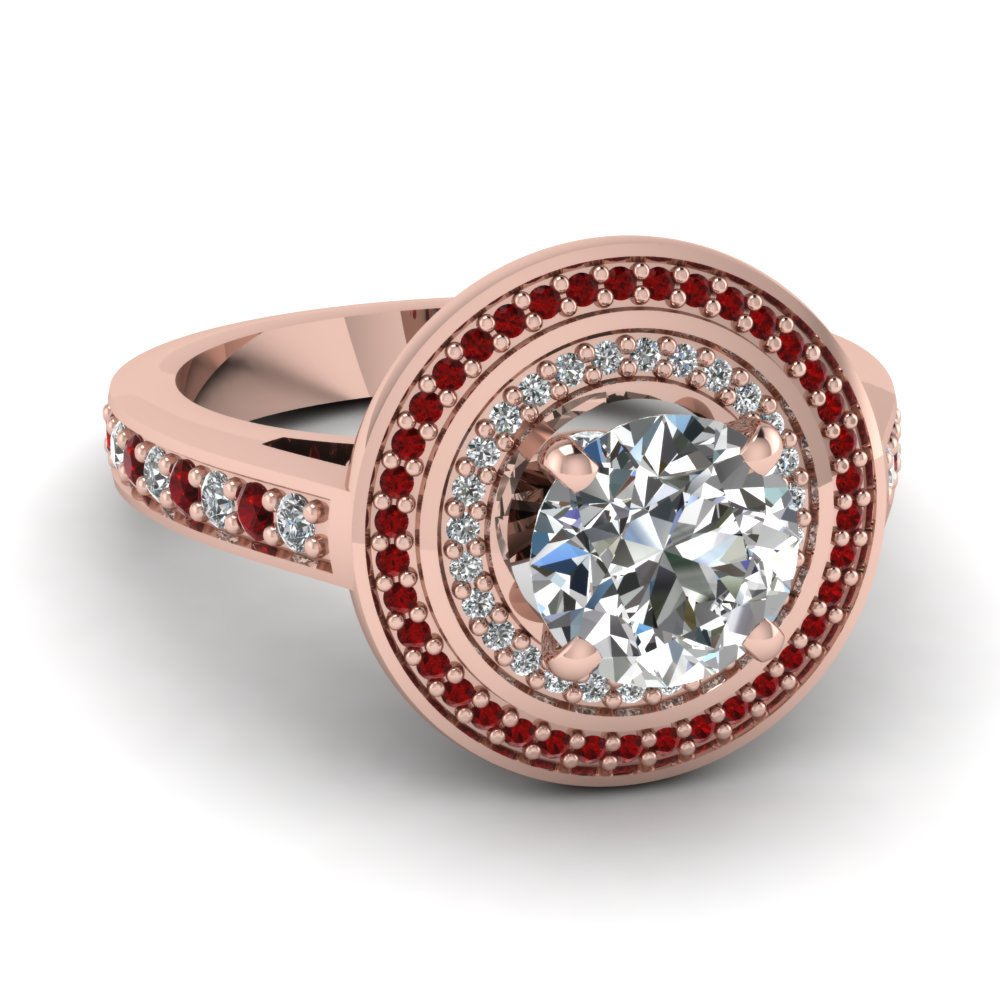 Round Ruby Double Halo Ring