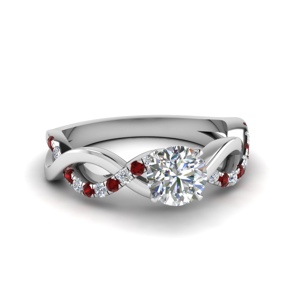 round cut infinity diamond engagement ring with ruby in FD1122RORGRUDR NL WG