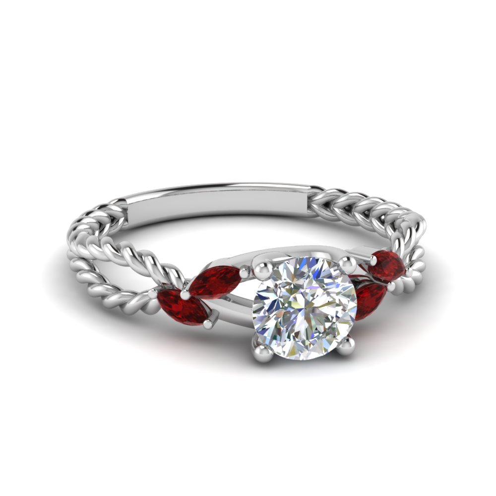 Round Cut diamond Split Shank Ring