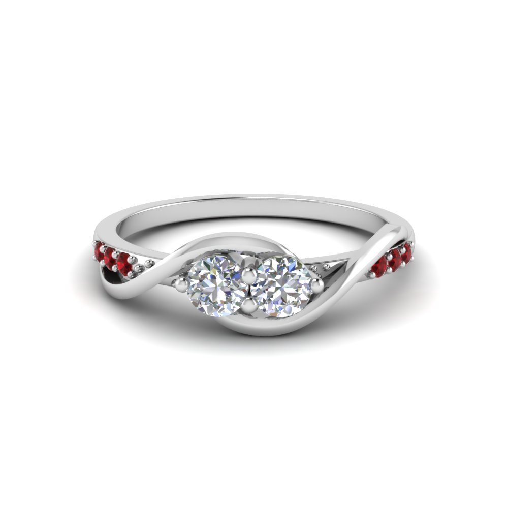 round cut diamond engagement ring with red ruby in 14K white gold FD8022RORGRUDR NL WG GS