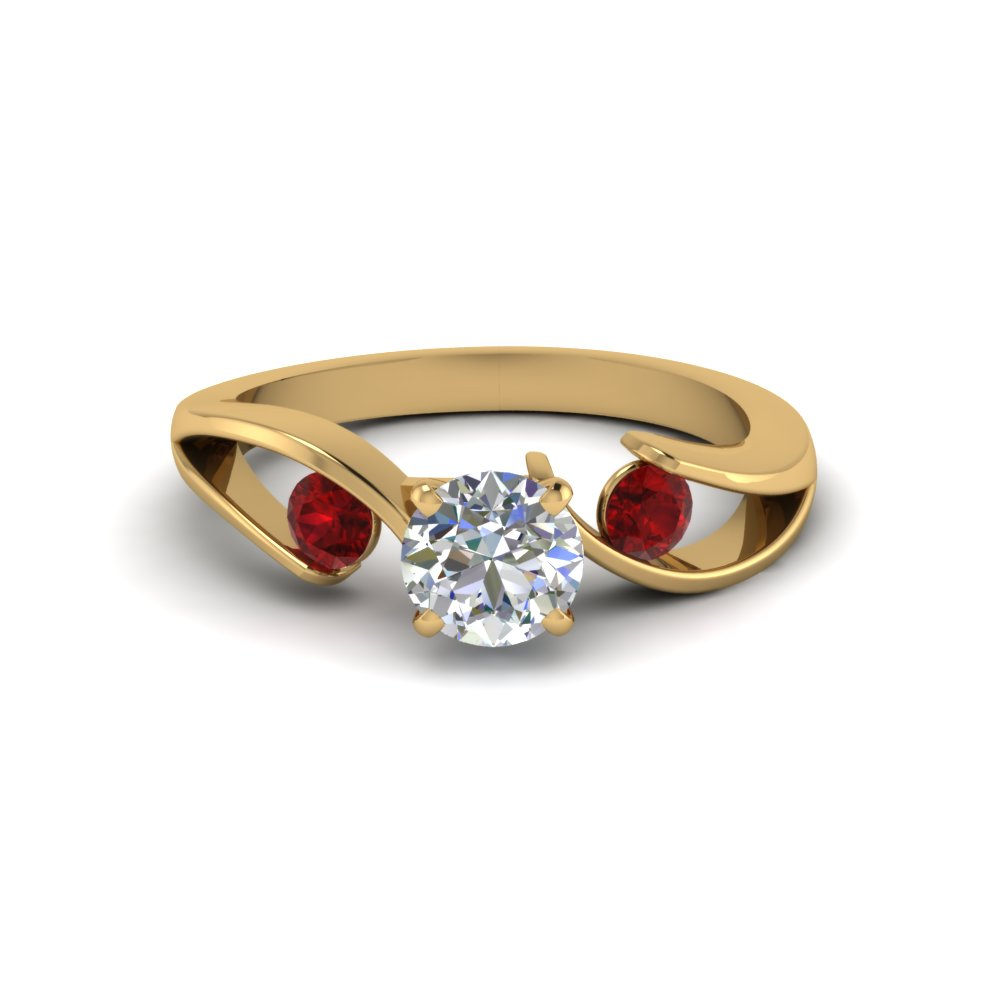 Round Cut Diamond 3 Stone Engagement Rings With Red Ruby In 14k Yellow Gold