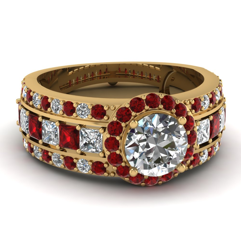 Big Halo Diamond And Ruby Ring