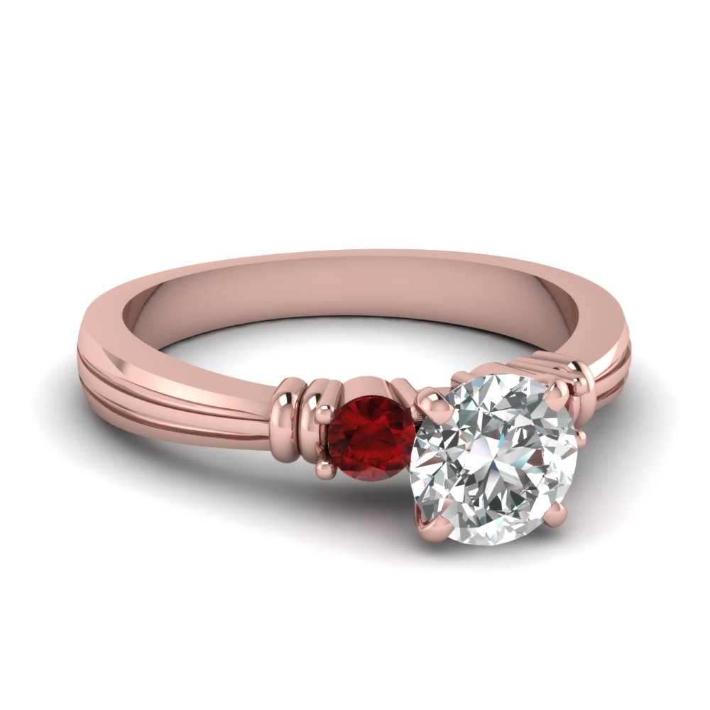 Round Shaped Ruby Accent Ring