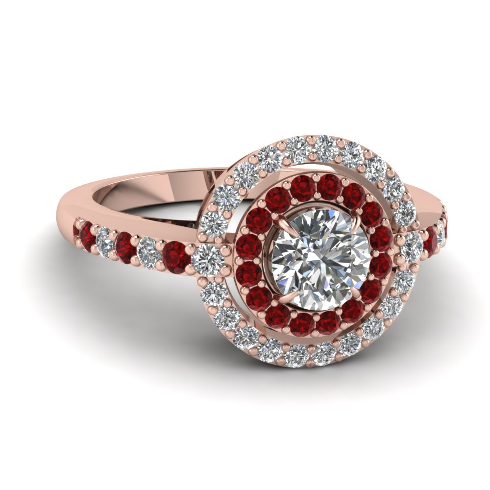 Shop Our Ruby Double Halo Engagement Rings| Fascinating Diamonds