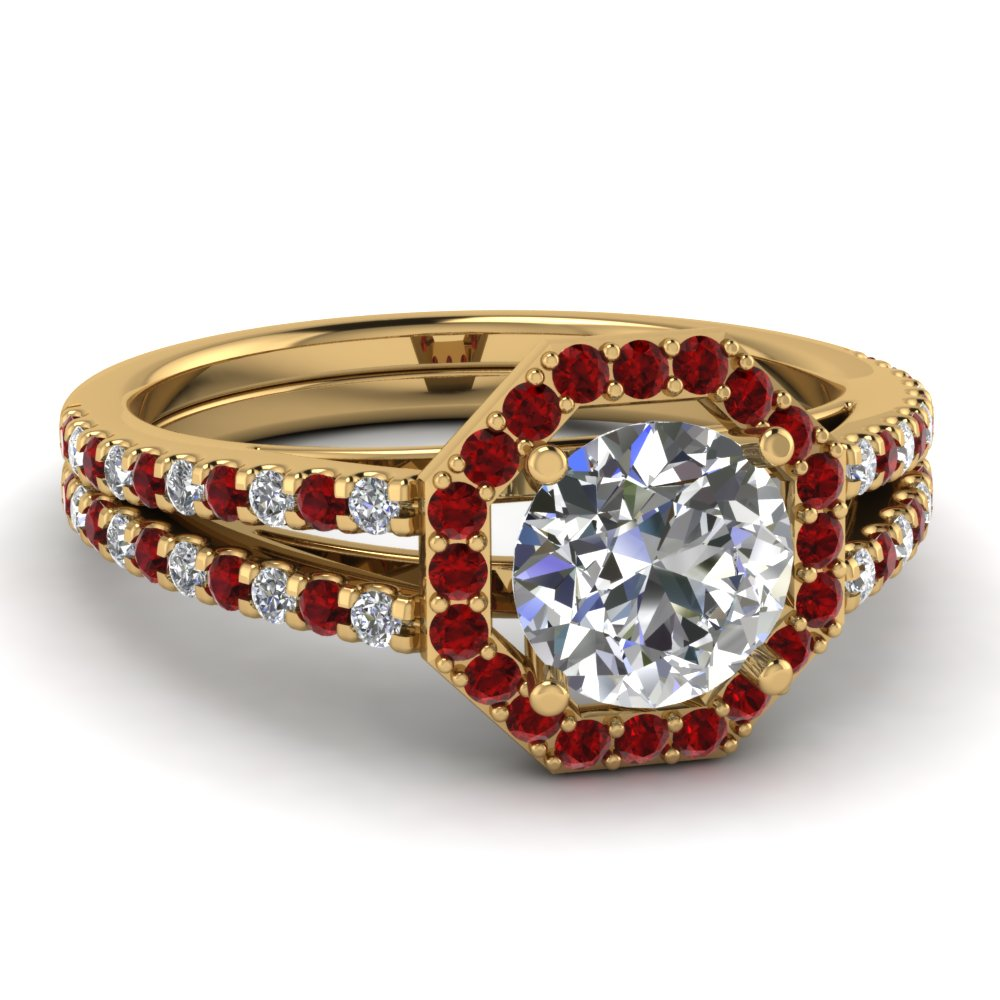round cut diamond engagement ring with ruby in FD121881RORGRUDR NL YG