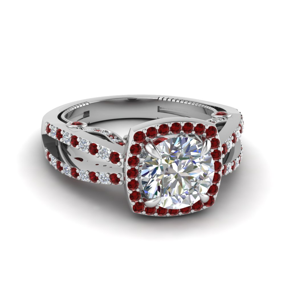18K White Gold Round Cut Red Ruby Engagement Rings
