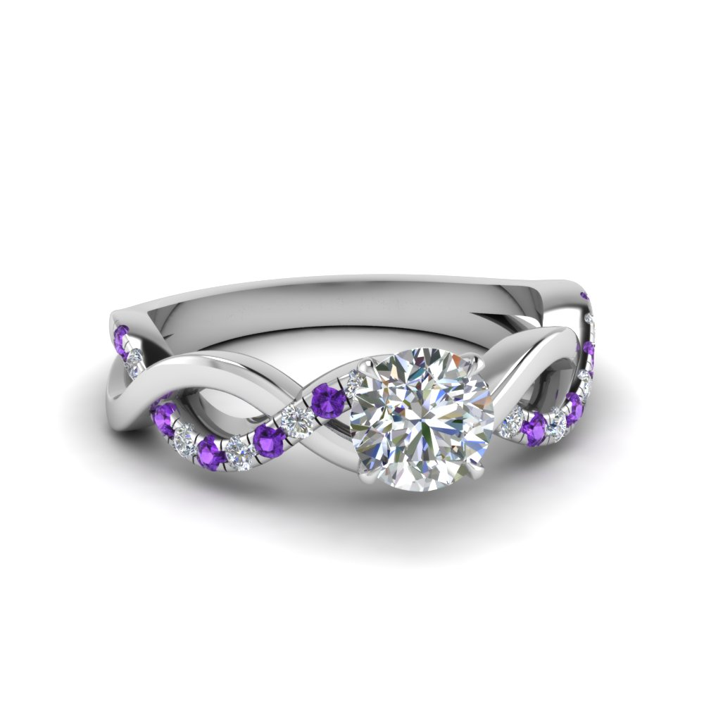 round cut infinity diamond engagement ring with violet topaz in FD1122RORGVITO NL WG
