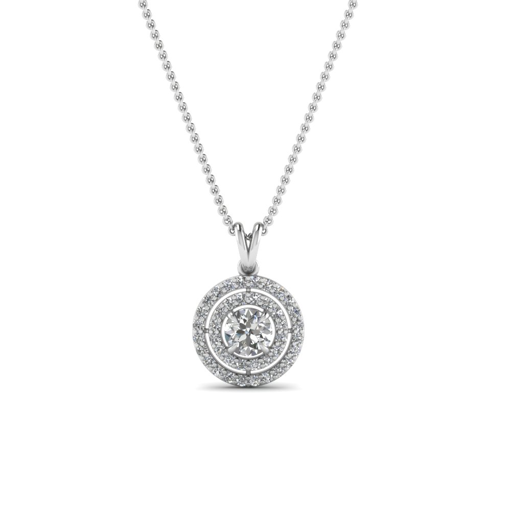 double halo diamond pendant in FDPD1190RO NL WG