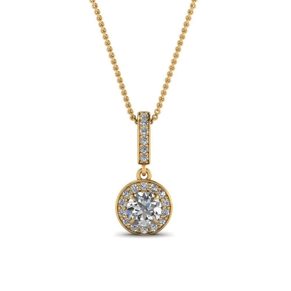 round cut diamond fancy pendant in 14K yellow gold FDPD85656RO NL YG