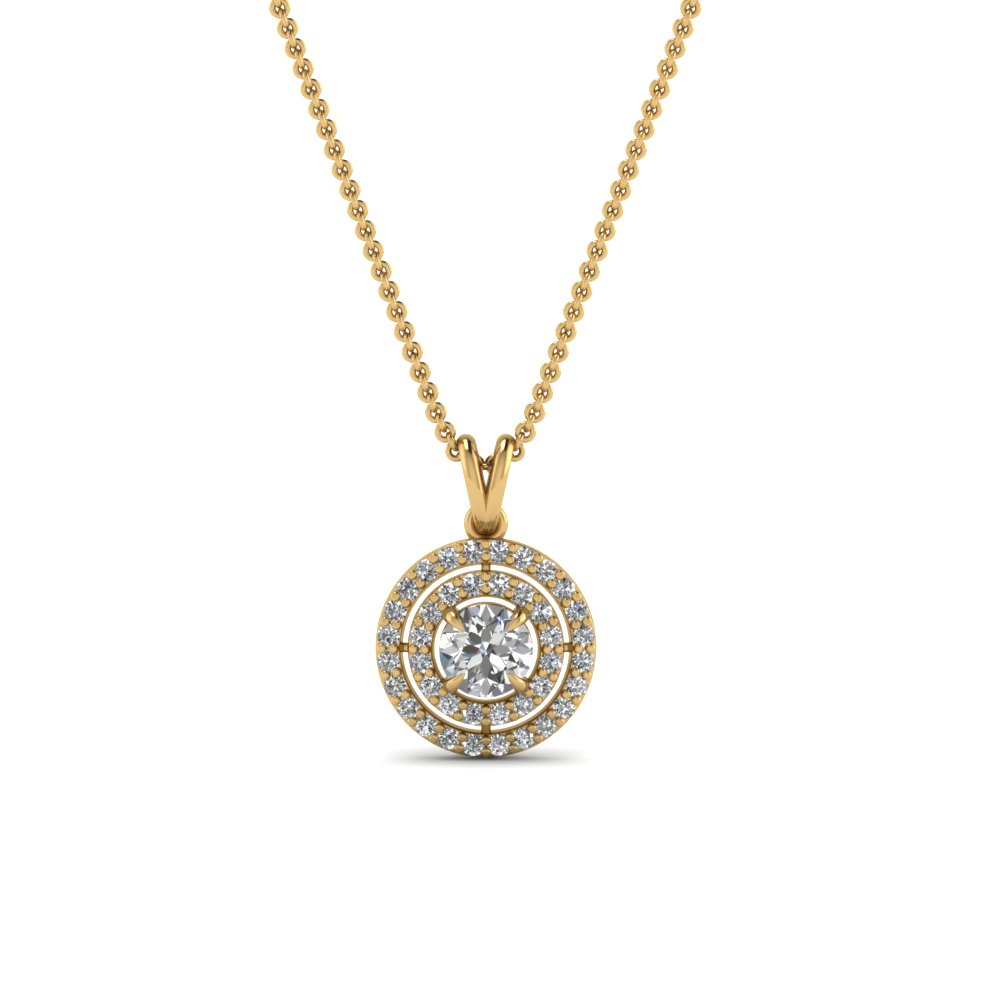 Double halo diamond pendant in 18k yellow gold fascinating diamonds double halo diamond pendant in fdpd1190ro nl yg aloadofball Images