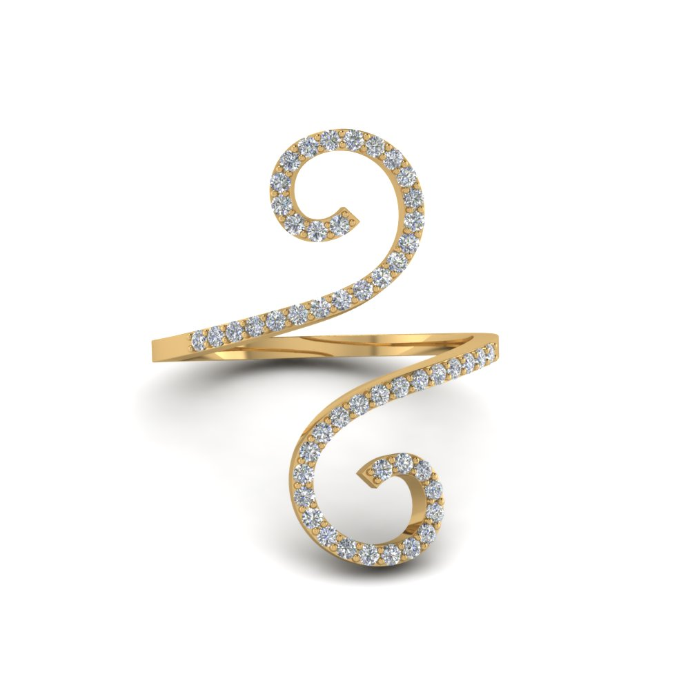 Round Cut Diamond Fashion Rings In 14K Yellow Gold