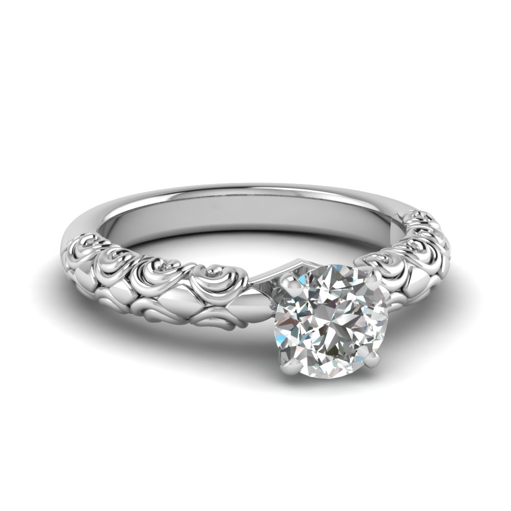 Filigree Round Diamond Solitaire Ring