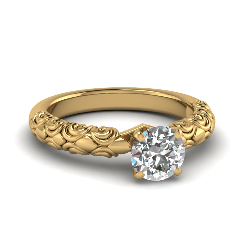 Gold Round Cut Solitaire Rings