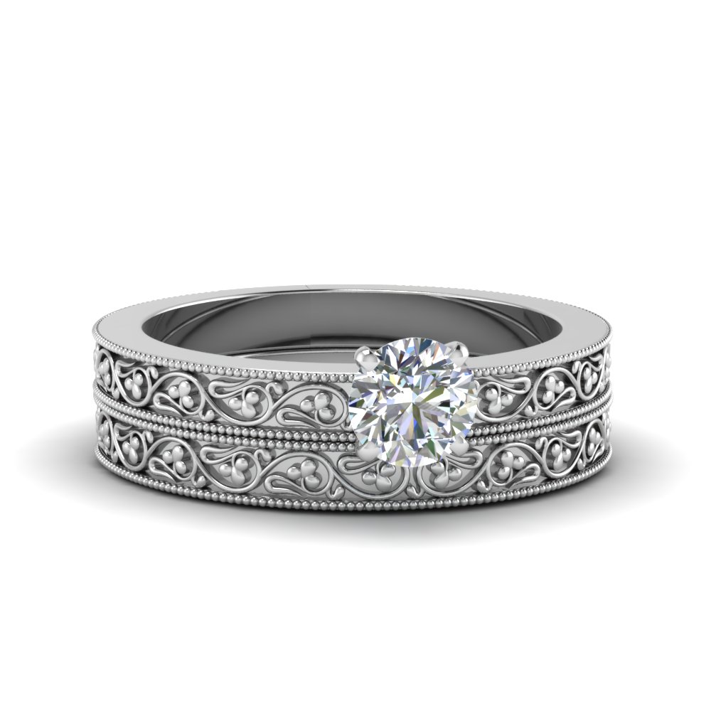 round cut diamond filigree vintage engagement ring with matching band in 14K white gold FDENS3627RO NL WG