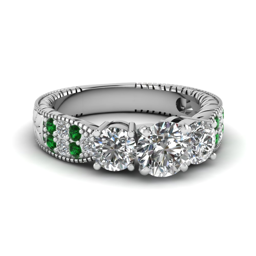 round cut vintage handmade 3 stone diamond ring with emerald in FDENR619RORGEMGR NL WG