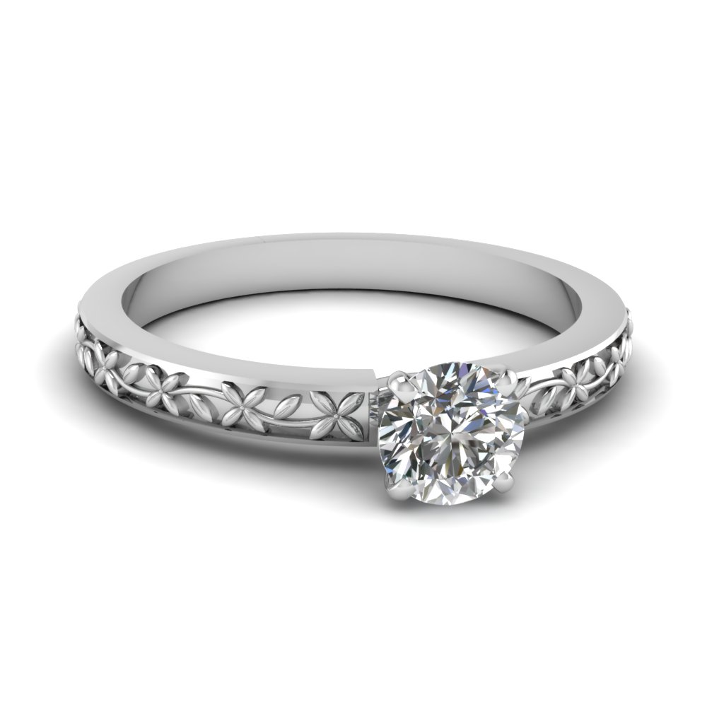 floral engraved round diamond solitaire engagement ring in FDENS3552ROR NL WG