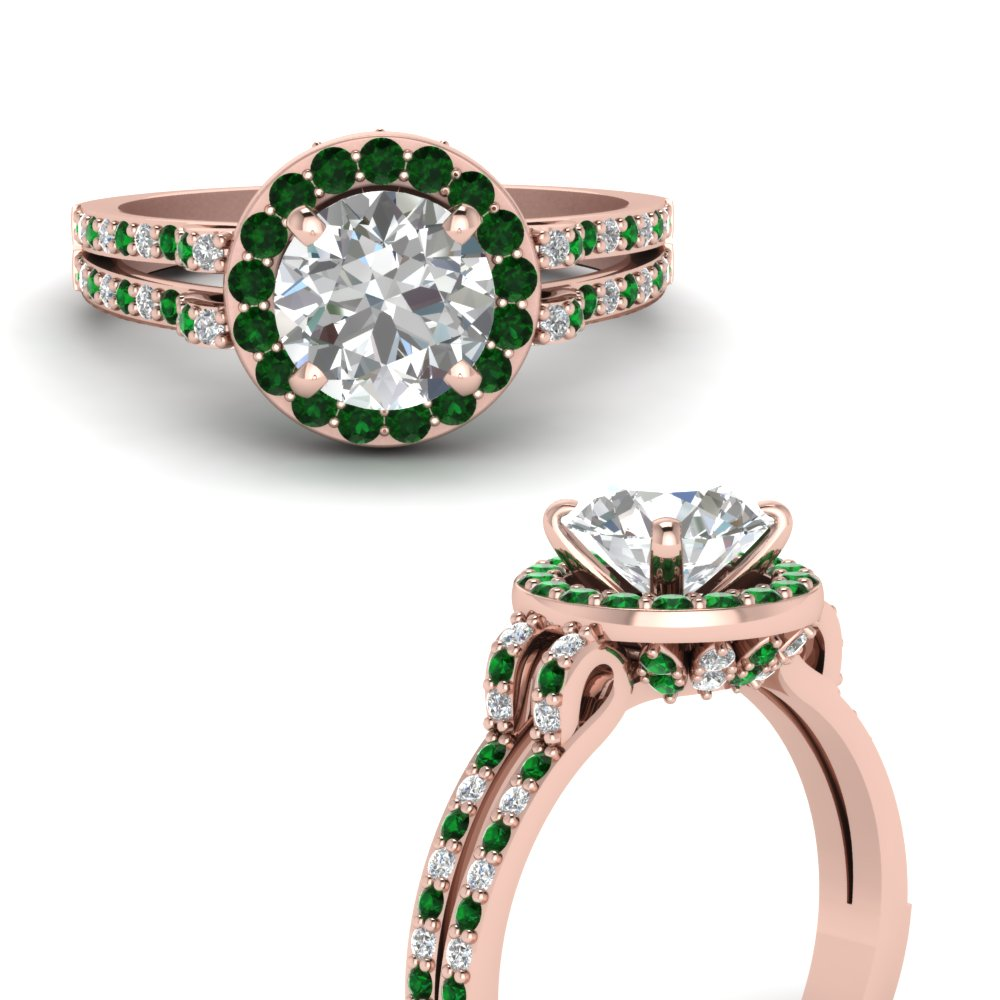 round cut diamond gallery engagement ring with emerald halo in FDENS3263RORGEMGRANGLE3 NL RG