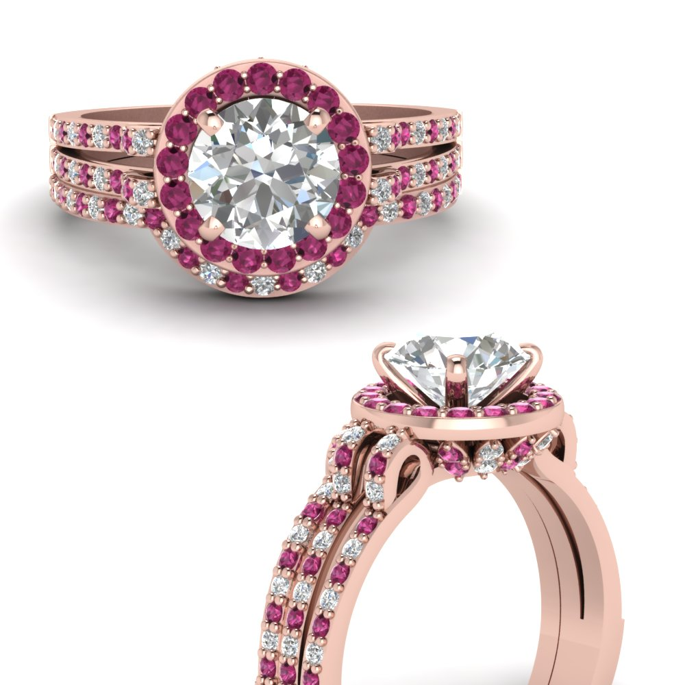 round cut diamond gallery wedding set with pink sapphire halo in FDENS3263ROGSADRPIANGLE3 NL RG