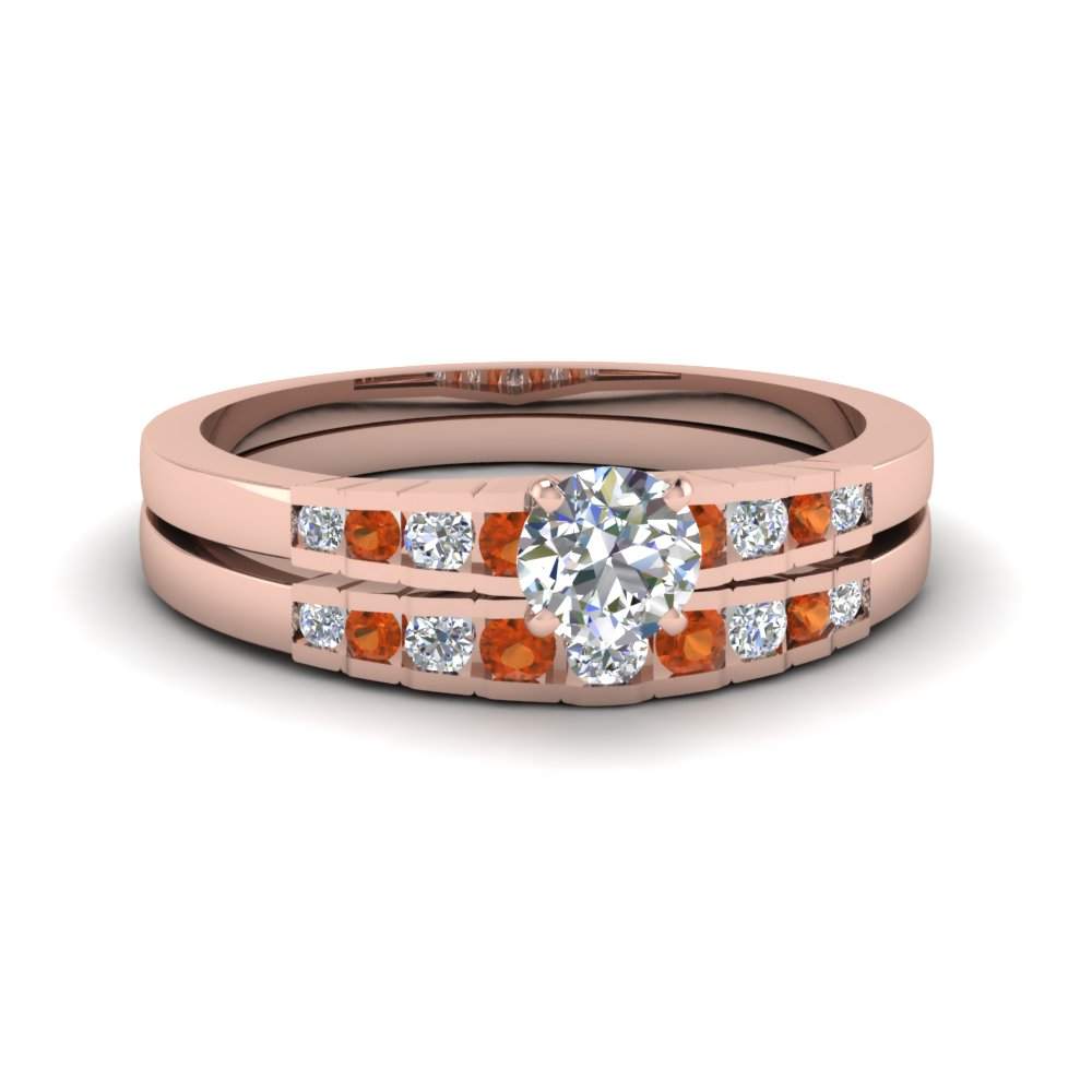 round cut diamond graduated accent wedding set with orange sapphire in FDENS3116ROGSAOR NL RG