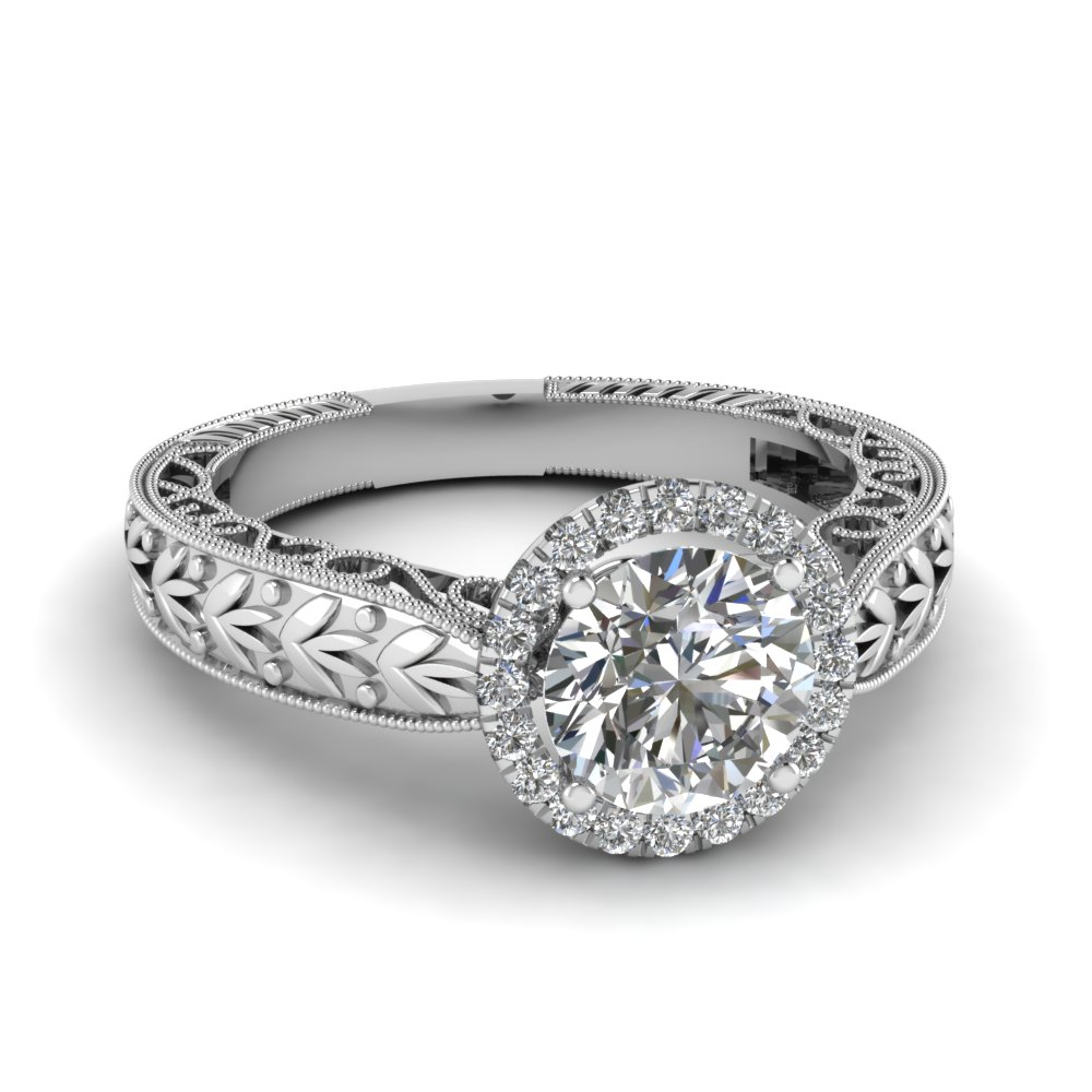 round cut antique filigree halo diamond engagement ring in 14K white gold FD69828ROR NL WG