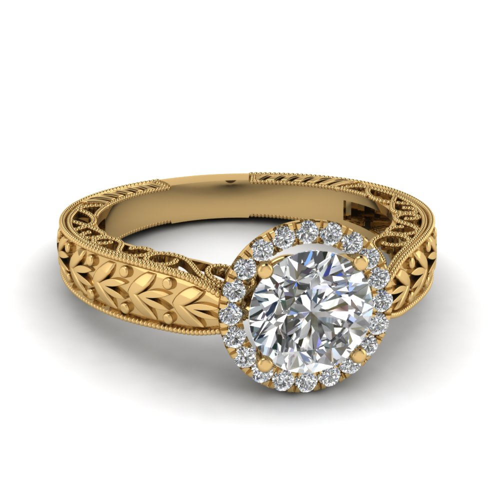 Round Leaf 14k Yellow Gold Halo Ring