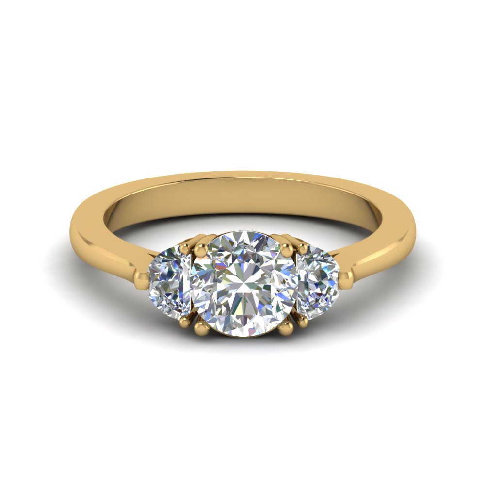 half moon round cut diamond engagement ring in 14K yellow gold FDENR7997ROR NL YG