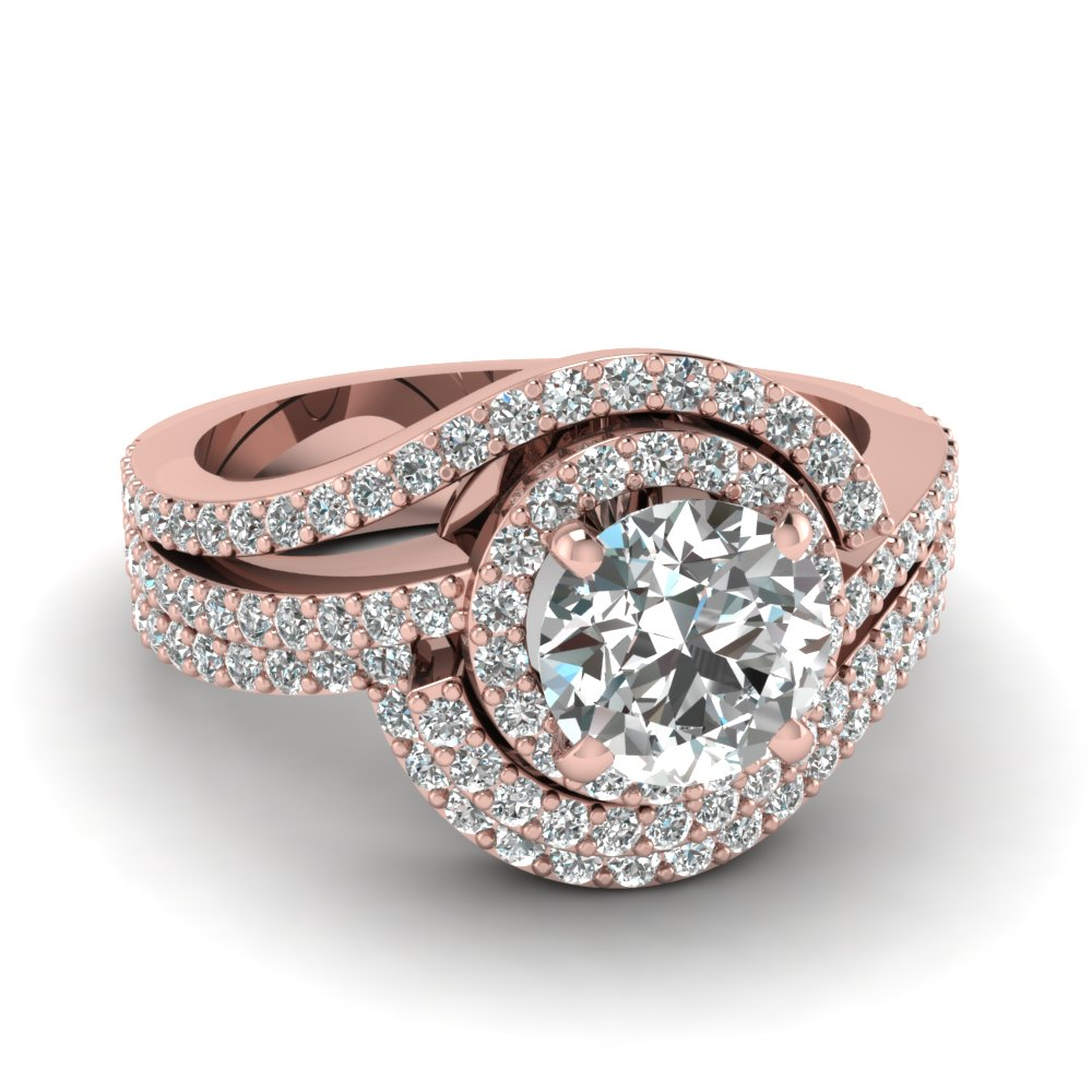 14K Rose Gold White Diamond Wedding Sets Engagement Rings