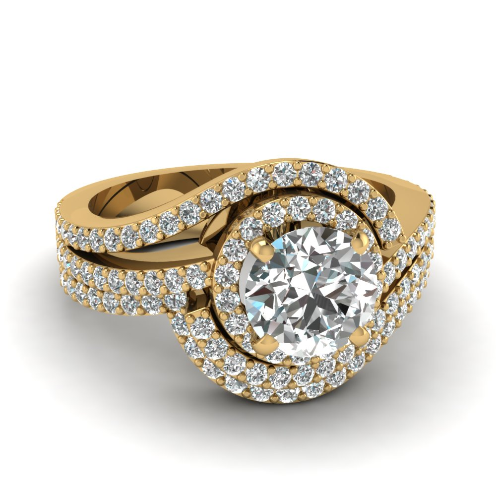 Round Diamond Swirl Patterned Yellow Gold Wedding Ring Set