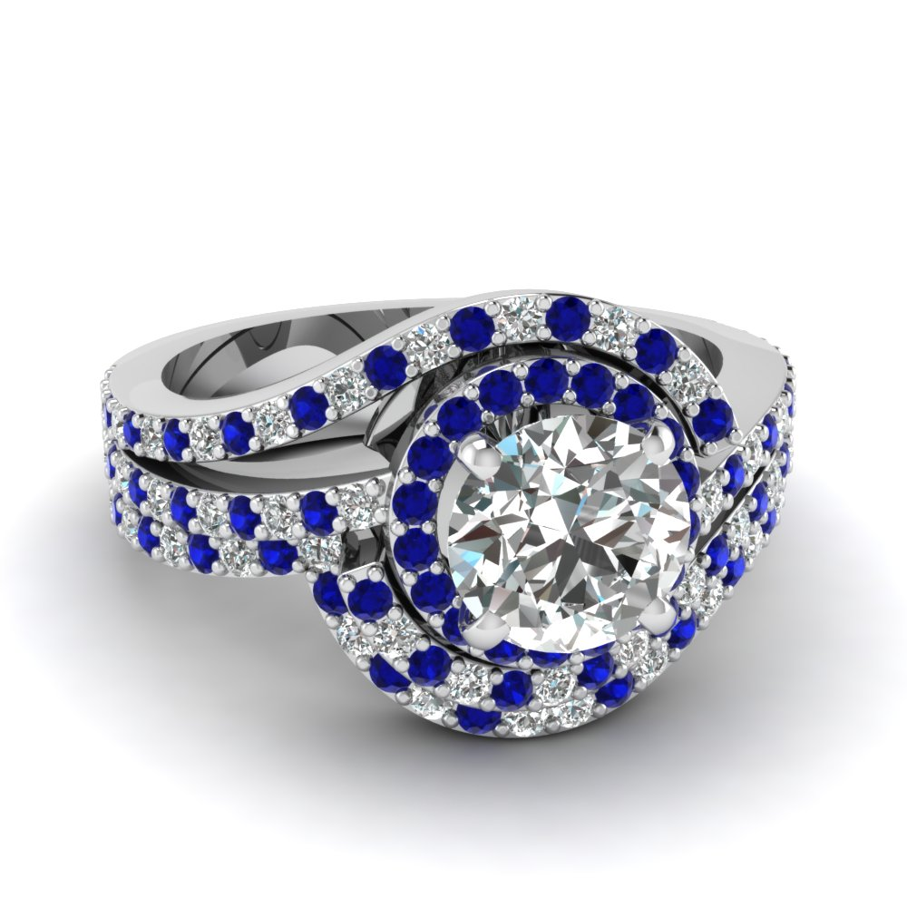 swirl round diamond halo wedding ring set with sapphire in FDENS3258ROGSABL NL WG