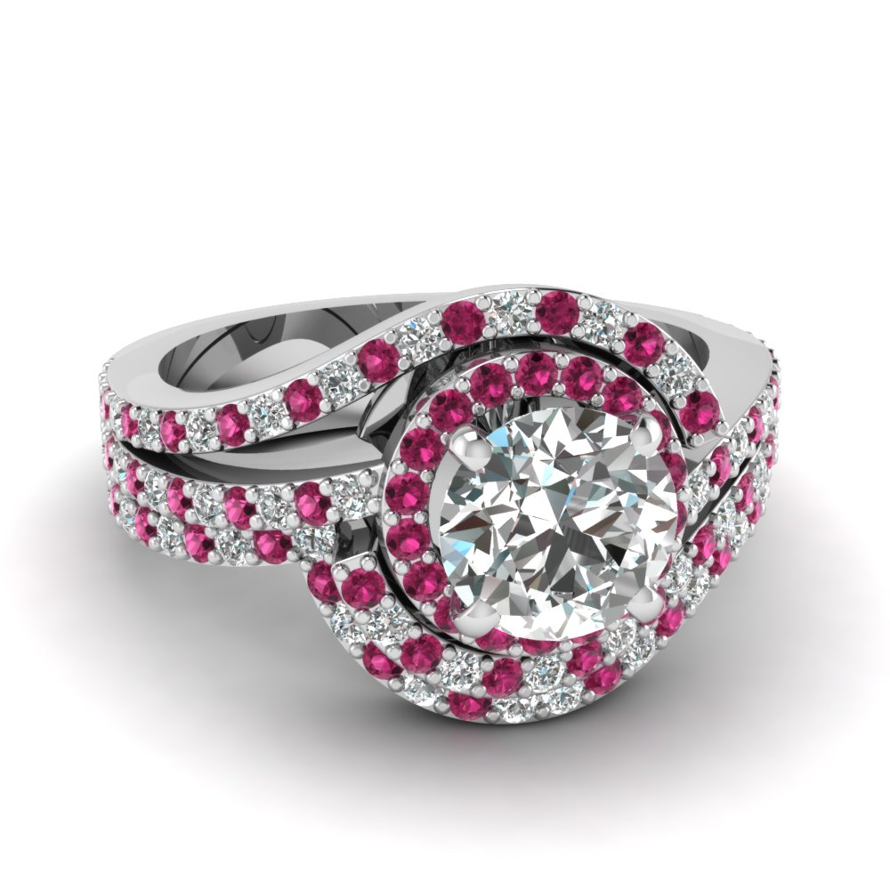 Swirl Round Diamond Halo Wedding Ring Set With Pink Shire In Fdens3258rogsadrpi Nl Wg