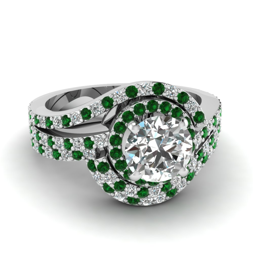 swirl round diamond halo wedding ring set with emerald in FDENS3258ROGEMGR NL WG