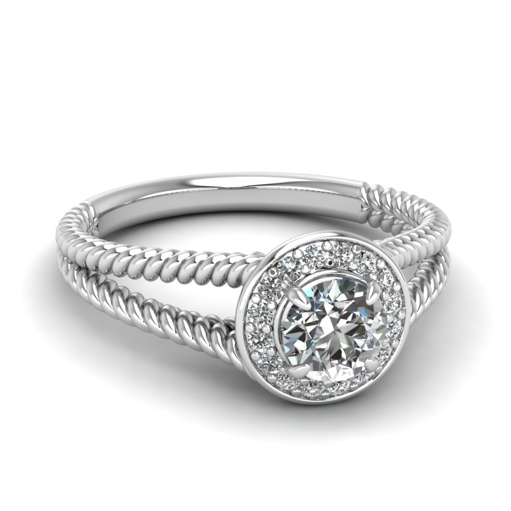 Split Shoulder Halo Style Wedding Ring For Her