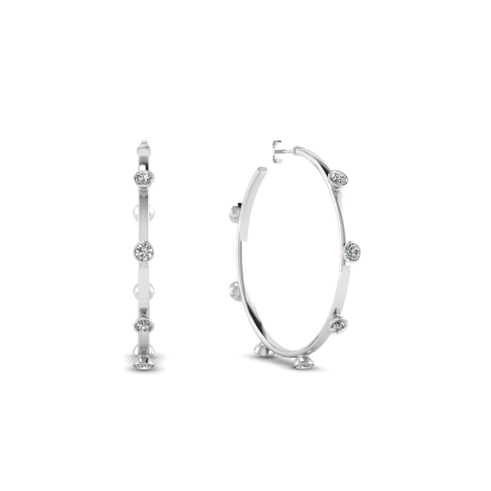 Bezel Diamond Hoop Earring