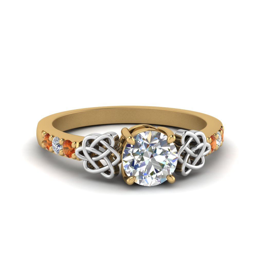 diamond celtic engagement ring with orange sapphire in 14K yellow gold FDENS2255 RORGSAOR NL YG