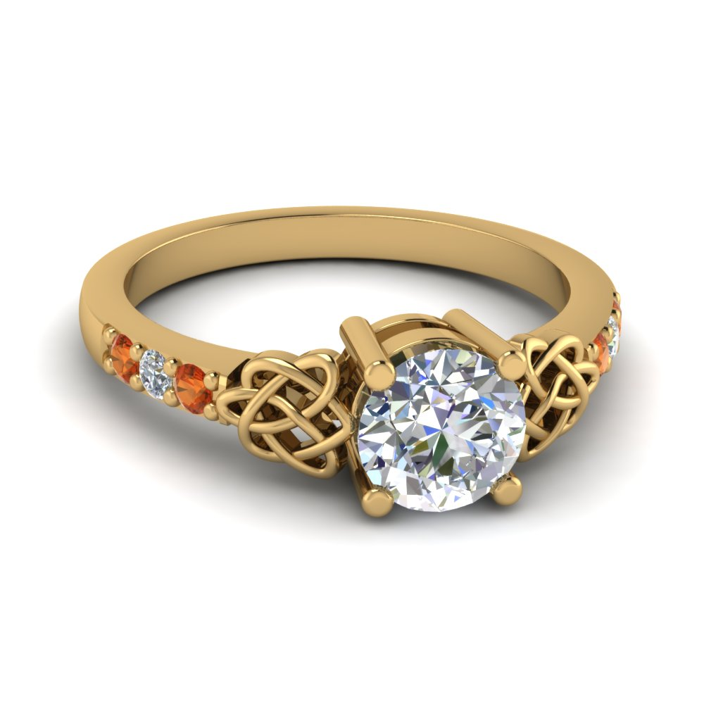 round-cut-diamond-imperial-tangle-side-stone-engagement-ring-with-orange-sapphire-in-14K-yellow-gold-FDENS2255RORGSAOR-NL-YG