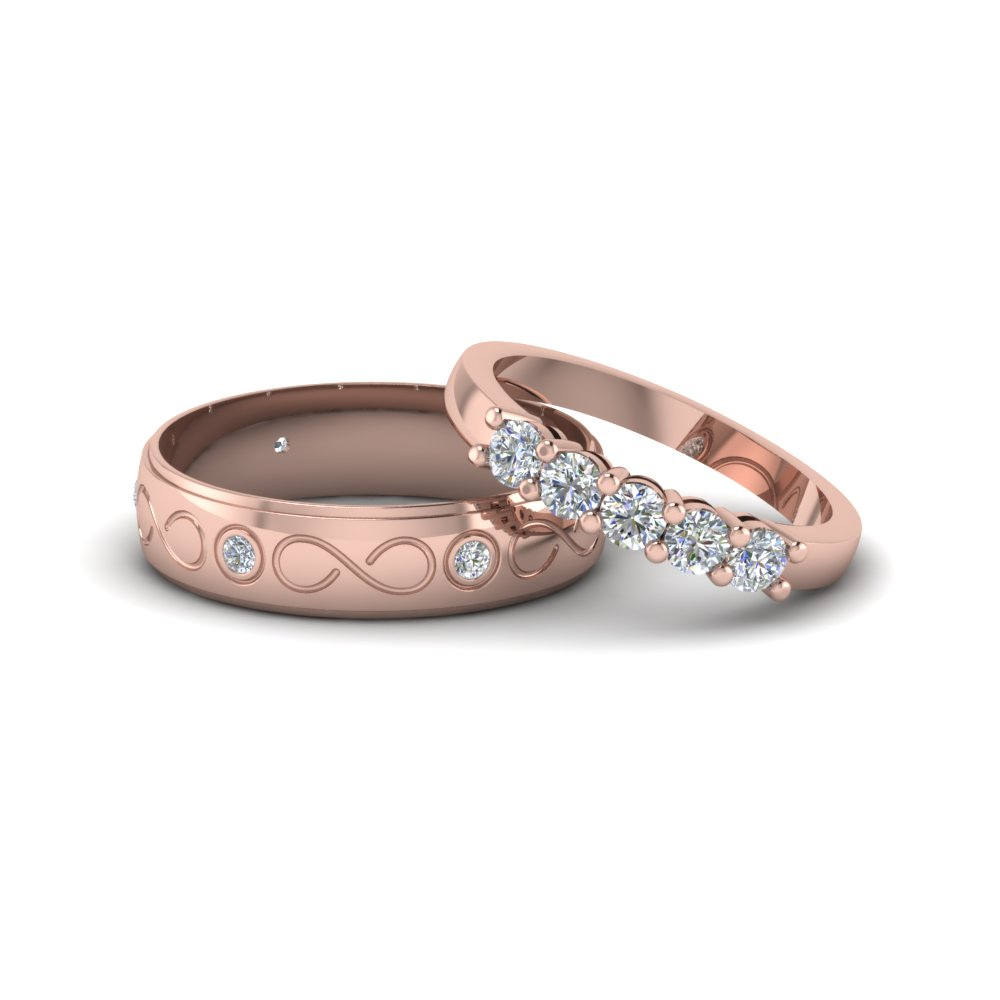 round cut diamond infinity style matching sets for him and her in 14K rose gold FD8172B NL RG