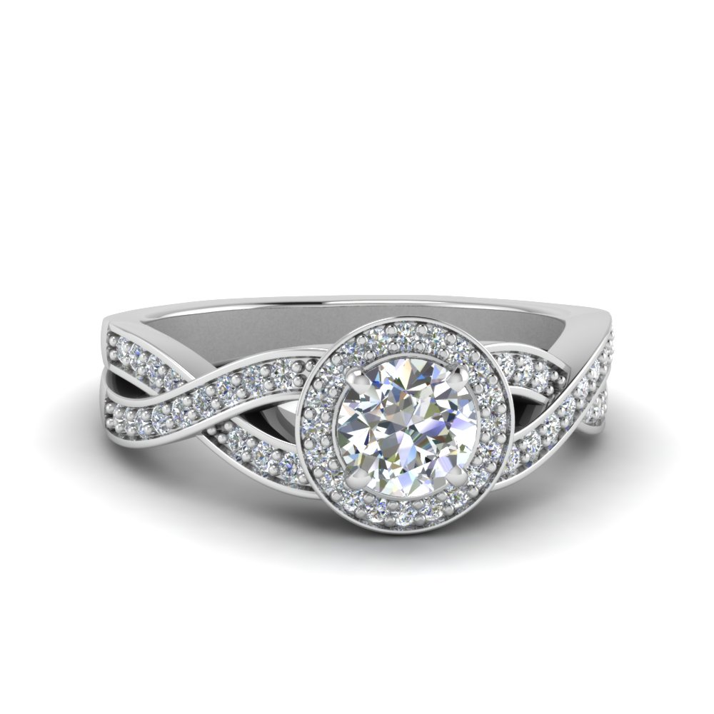 Intertwined Shank Halo Diamond Ring